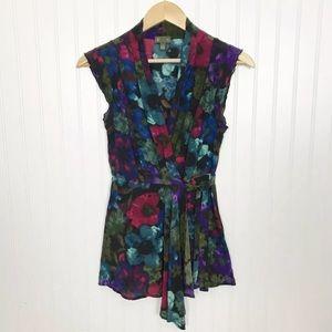 Fei Anthropologie Floral Silk Wrap Blouse Size 0